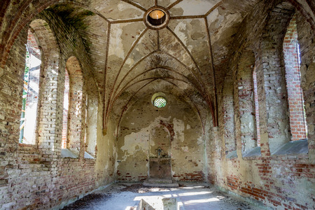 church interior: Abandoned chapel aristocratic family in Poland, Europe