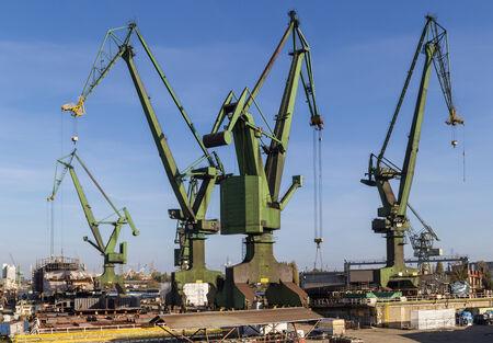dockyard: Shipyard cranes in shipyard Gdansk, Poland