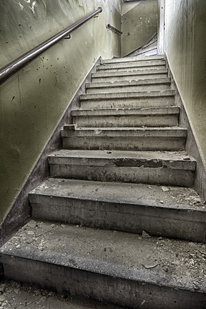Devastated and destroyed the stairs in the stairwell photo