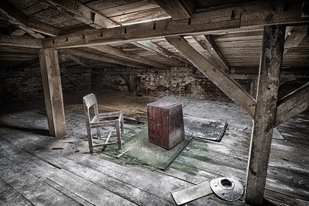 Chair on an abandoned attic