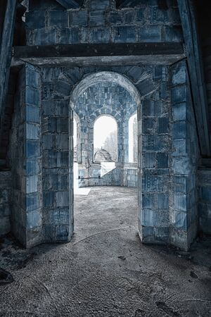 The entrance to the room in an abandoned building Stock Photo