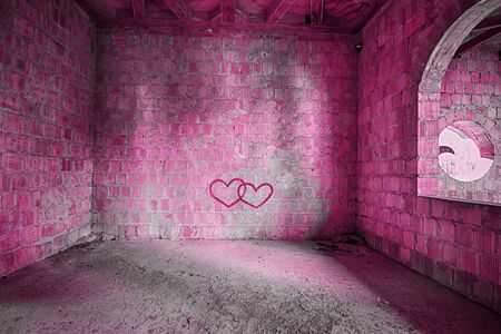 The Pink room in an abandoned building photo