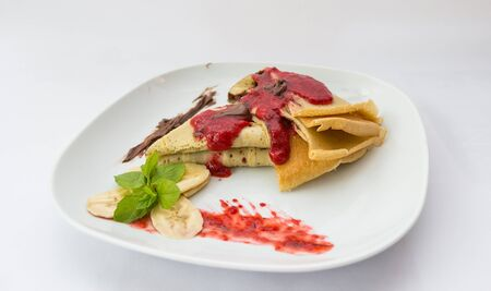 nutella: Pancakes with nutella served in the restaurant for breakfast