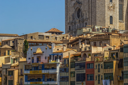 townhouses: View of old old townhouses in Girona, Spain