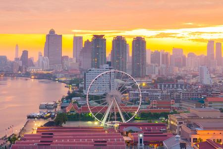 Bangkok skyline and night shopping place.