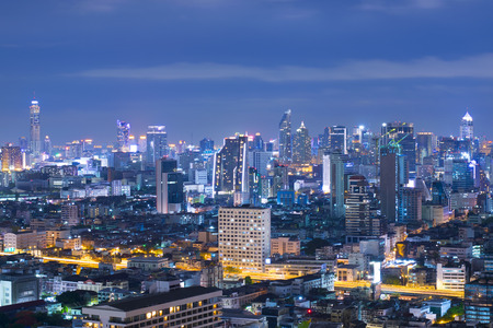Bangkok downtown business residential area at night.