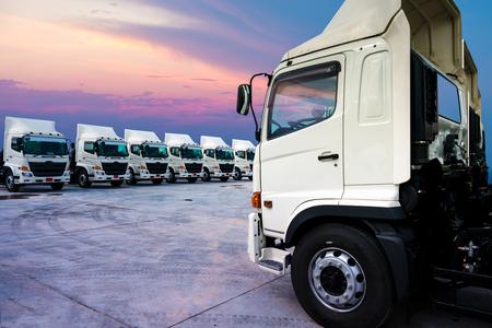 New Truck fleet in the yard with beautiful sky.
