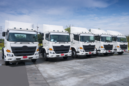 New truck fleet transportation in container depot.