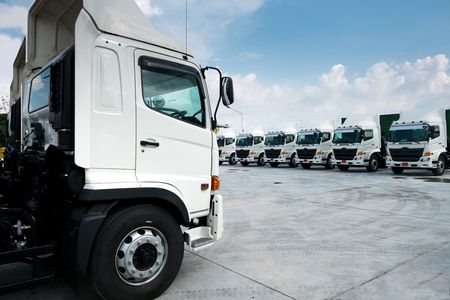 New truck fleet transportation in container depot.