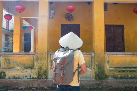 Tourist is sightseeing Old town Hoi An Vietnam. Stock Photo