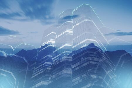 Abstract multiple exposure with office building and landscape mountain view