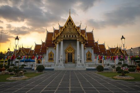 Wat Benchamabophit, the Marble temple Bangkok is famous travel landmark for tourist at dusk. Stock Photo