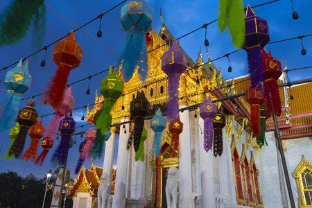 Tons of lanterns are decorated inside Wat Benchamabophit, the Marble temple Bangkok during New Year Celebration at dusk.