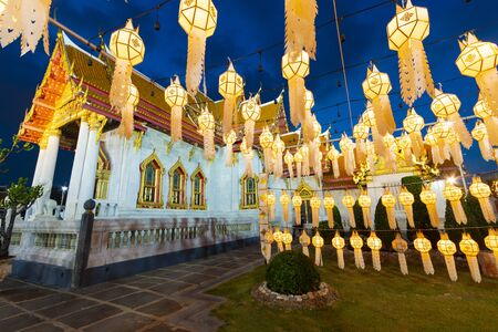Tons of lanterns are decoratiing inside Wat Benchamabophit, the Marble temple Bangkok during New Year Celebration at dusk.