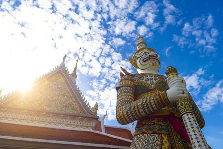 Big giant statue heritage landmark inside Wat Arun in Bangkok