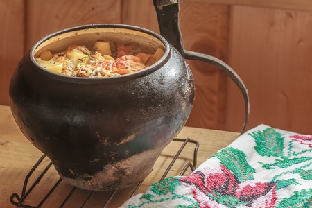 woodfired: Traditional stew meal cooked in Russian wood-fired oven