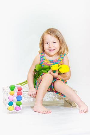 eastertide: Laughing little girl in Eastertide Stock Photo