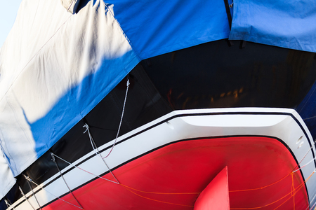transom: Sea sport yacht stern close up view