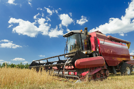 impeller: Combine harvester at the edge of grain field during hot harvest time Stock Photo