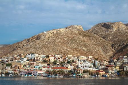 stone cutter: Sea side view of Pothia city bay on Greek Dodecanese Kalymnos island Stock Photo