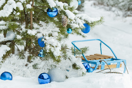 Christmas snowy pine tree decorated with glitter baubles and blue classic sledge on snow covering