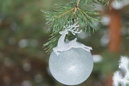 matt: Grey silver color Christmas ornament in form of Santa Claus reindeer on evegreen conifer branch