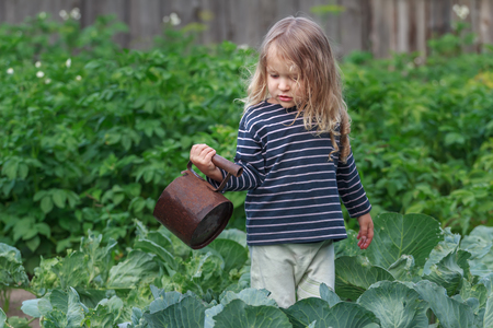 three years old: Three years old little gardener is watering her pepper plants in green summer garden Stock Photo