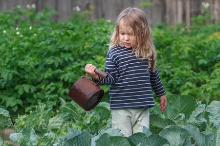 Tre anni Little giardiniere è annaffiare le sue piante di pepe in giardino estivo verde Archivio Fotografico - 54520237
