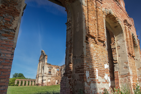 niches: Survived ruins of Sapieha magnate family residence Ruzhany Palace in Western Belarus