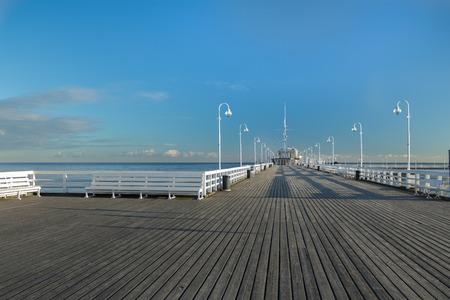Popular walking jetty the longest European wooden sea pleasure pier in Polish Sopot Stock Photo