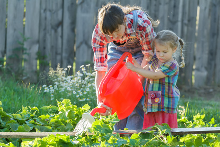 Woman gardener is helping her daughter to pour vegetable garden bed with cucumbers