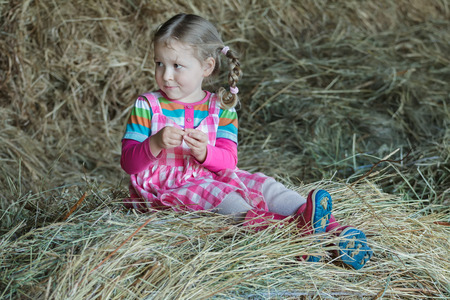 gum boots: Little braided girl is wearing dress and gum boots sitting in country farm hayloft on dried loose grass hay