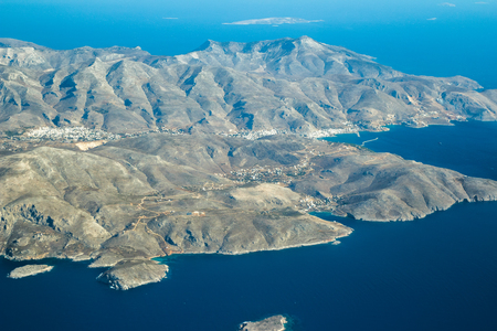 dodecanese: Aeral view of southwest part Greek Kalymnos island Dodecanese archipelago in Aegean sea Stock Photo