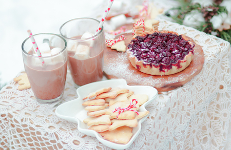 Christmas festive snacks berry pie cookies and marshmallows in hot cocoa drink