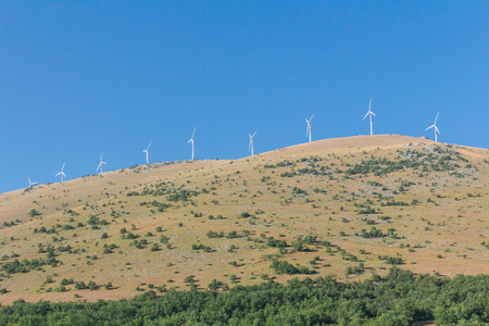 Horizontal-axis wind turbine towers station in Abruzzo, Italy