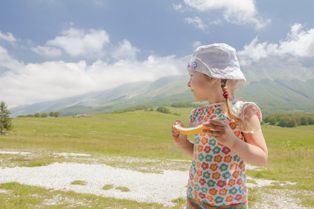 Travel holidays of little blonde girl in summer mountain green valley Archivio Fotografico