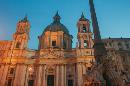 Piazza Navona with Sant Agnese church and Fountain of the Four Rivers Rome outdoors