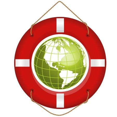 lifesaver: globe and lifesaver