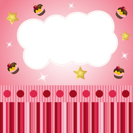 pink scrap background with cloud Illustration