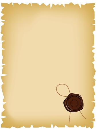 tampon cire: Le vieux papier avec cachet de cire � cacheter