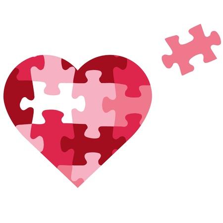 パズルのハートのアイコン  イラスト・ベクター素材