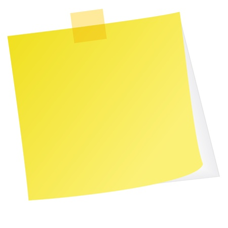Yellow post note with white background Illustration