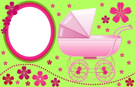 Baby pram photo frame Vector