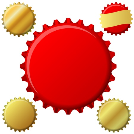 Bottle cap set in red and gold