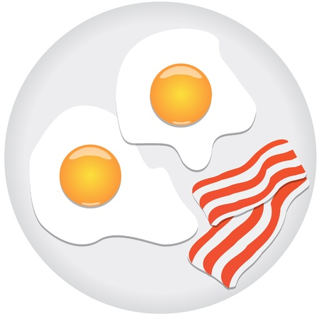Fried eggs and bacon on plate Vector