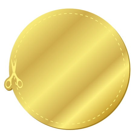 Golden coupon sticker icon
