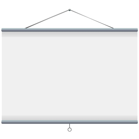 movie projector: white blank projector screen  Illustration