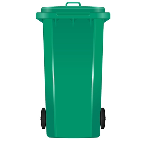 Green garbage bin with wheels Stock Vector - 13385665