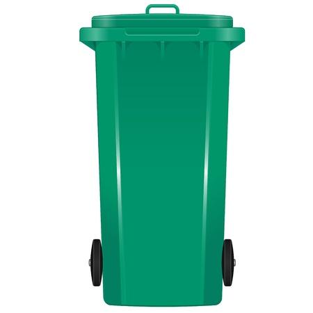 segregate: Green garbage bin with wheels