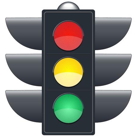 traffic control: Sem�foros en el fondo blanco